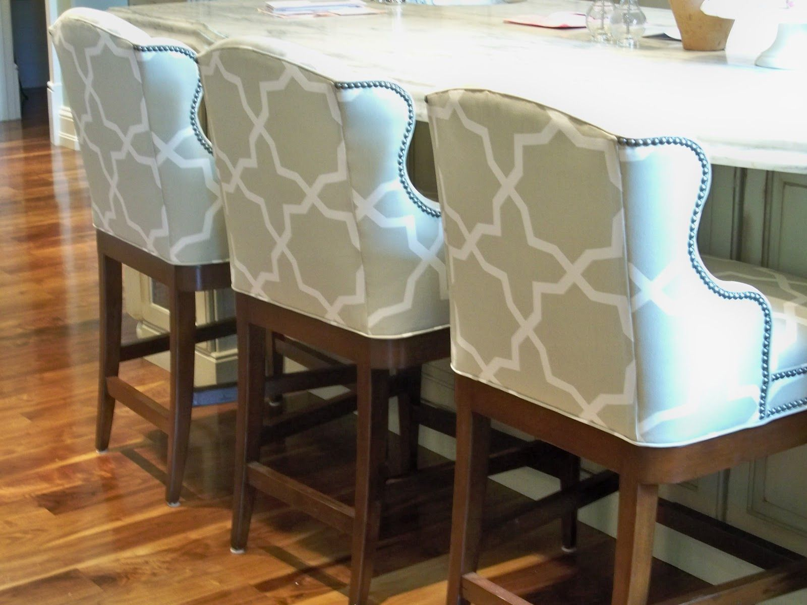 Lee Industries counter stools upholstered in Sunbrella fabric