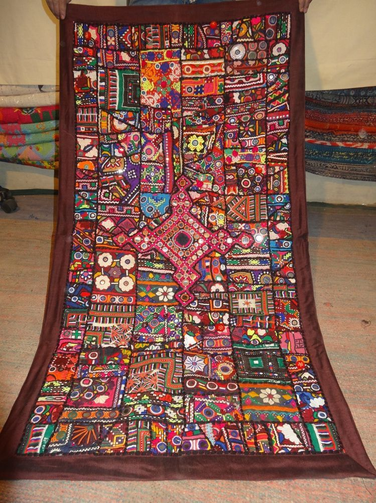 Indian Handmade Decor Wall Hanging Vintage Cotton Embroidered Patchwork Tapestry Cotton Decor American Indian Decor Wall Hanging
