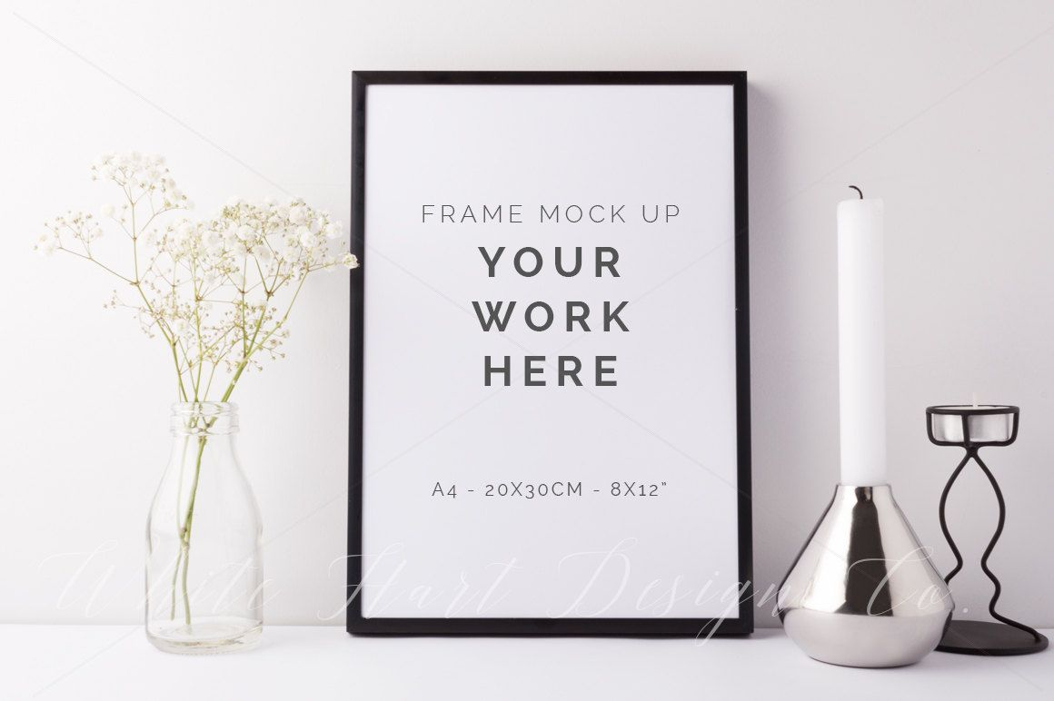 Frame mockup - Black portrait and A4 size (20x30cm - 8x12\