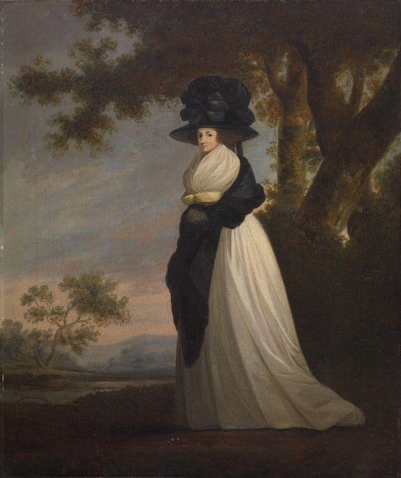 Portrait of a Lady Wearing an Elaborate Hat, unknown artist, ca. 1787; TWAM 37.1985