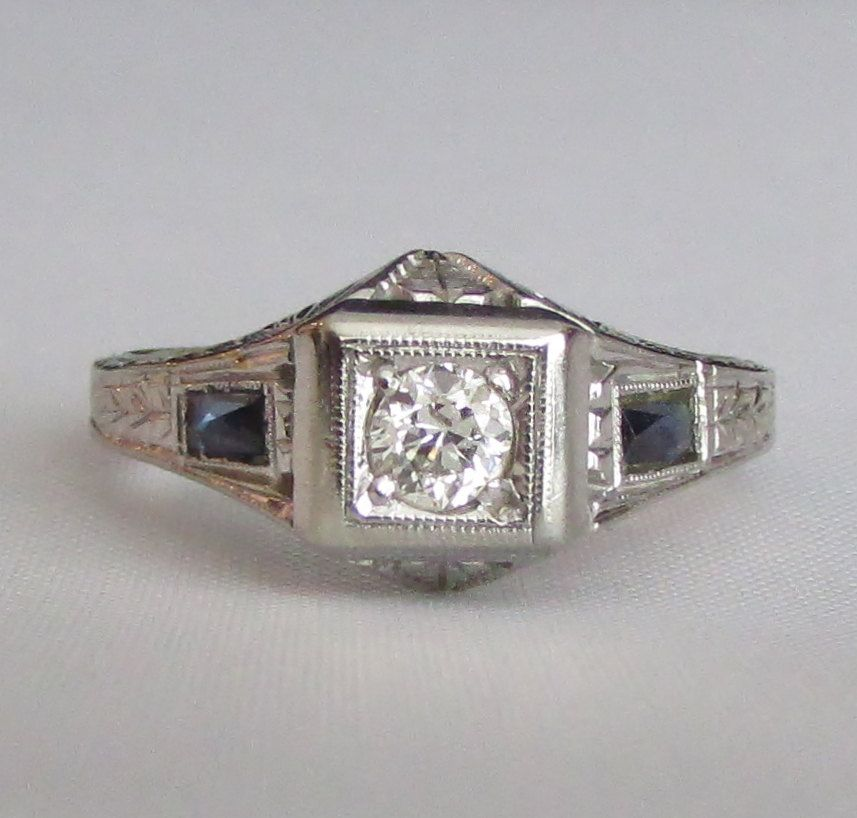 Diamond and Sapphire Engraved 18K White Gold Art Deco Engagement or Right Hand Ring - GIA Appraisal Included! by Ringtique on Etsy