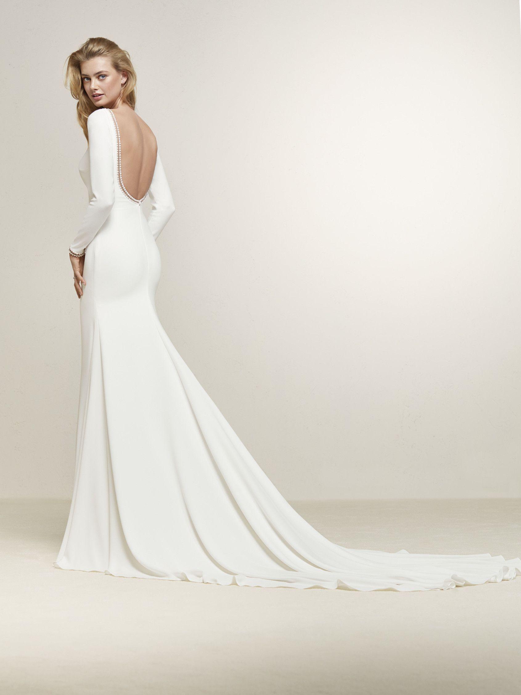 Simple mermaid style long sleeves swoonworthy gowns pinterest