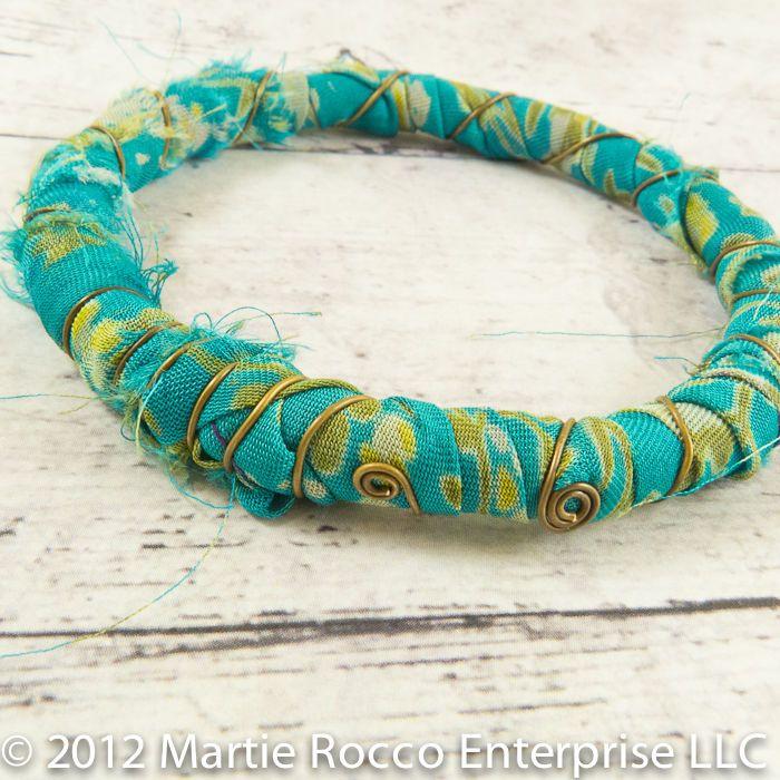 Green floral sari wrapped boho inspired bangle bracelet