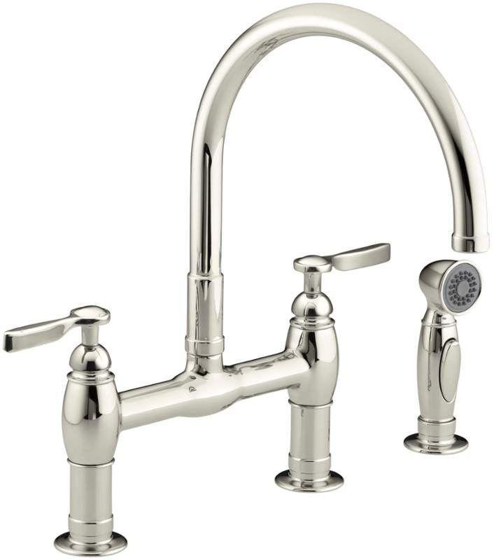 Kohler K 6131 4 Bridge Faucet W Side Sprayer Kitchen Faucet Bridge Faucet Kitchen Kitchen Sink Faucets