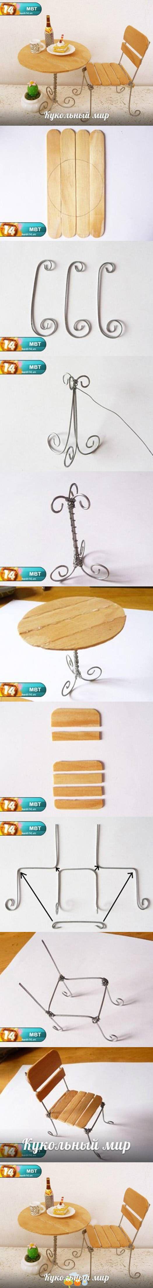 mesa e cadeira feitos com palito de picolé e arame