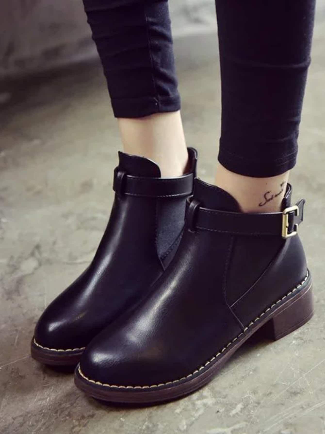 79deb4496 Casual Round Toe Ankle No zipper Black Mid Heel Chunky Side Buckle PU  Elastic Ankle Boots