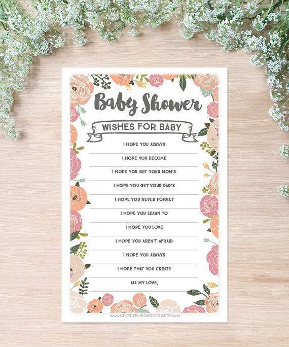 Instant Download  Wishes For Baby Shower by CreativeUnionDesign