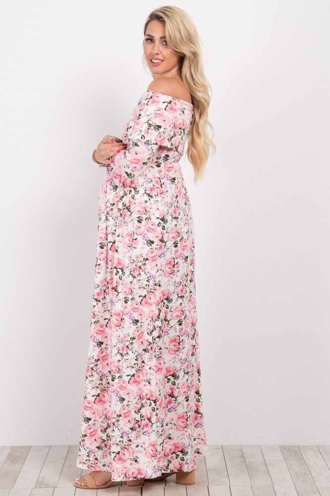 3b323bf587 Pink Floral Off Shoulder Maternity Maxi Dress | Eny flores | Dresses ...