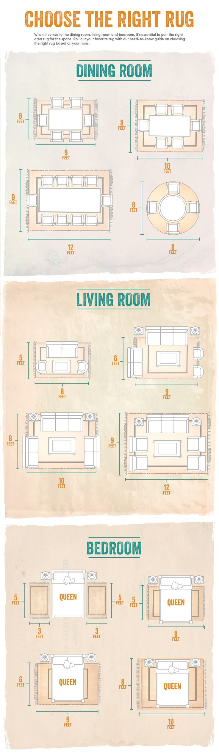 Helpful tips about how to choose the right rug for your dining room, living room and bedroom. Such great information! affiliate