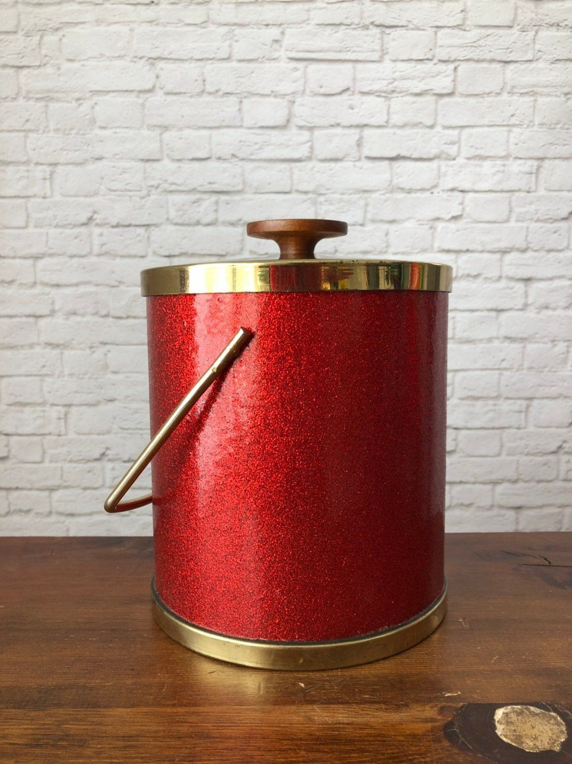 Red Glitter Ice Bucket Ice Chiller Vintage Wine Cooler Bright Red Ice Chest Shimmer Ice Bucket Barware Vintage P In 2020 Vintage Wine Vintage Bar Vintage Napkins