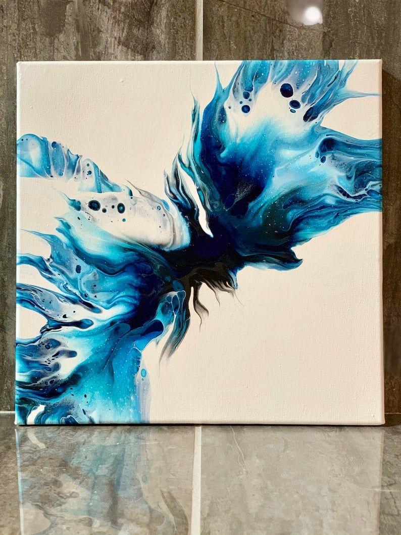Acrylic fluid art wall art on 12 x 12 canvas Original abstract pour painting