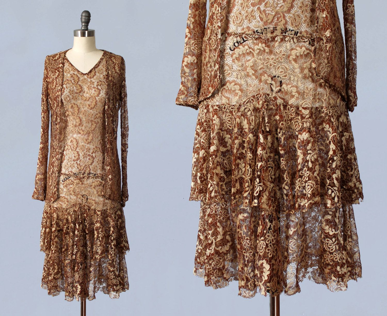 1920 lace dress  s Dress  s Metallic Lace Flapper Dress and Matching Jacket by