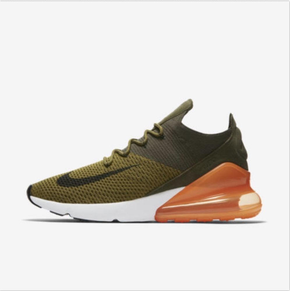 fashion Nike Air Max 270 Flyknit Olive Black Orange White AO1023-301  Running Shoes Mens 1752dbfc9ea0