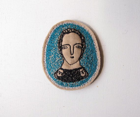 RESERVED portrait brooch with peacock blue - original embroidery artwork