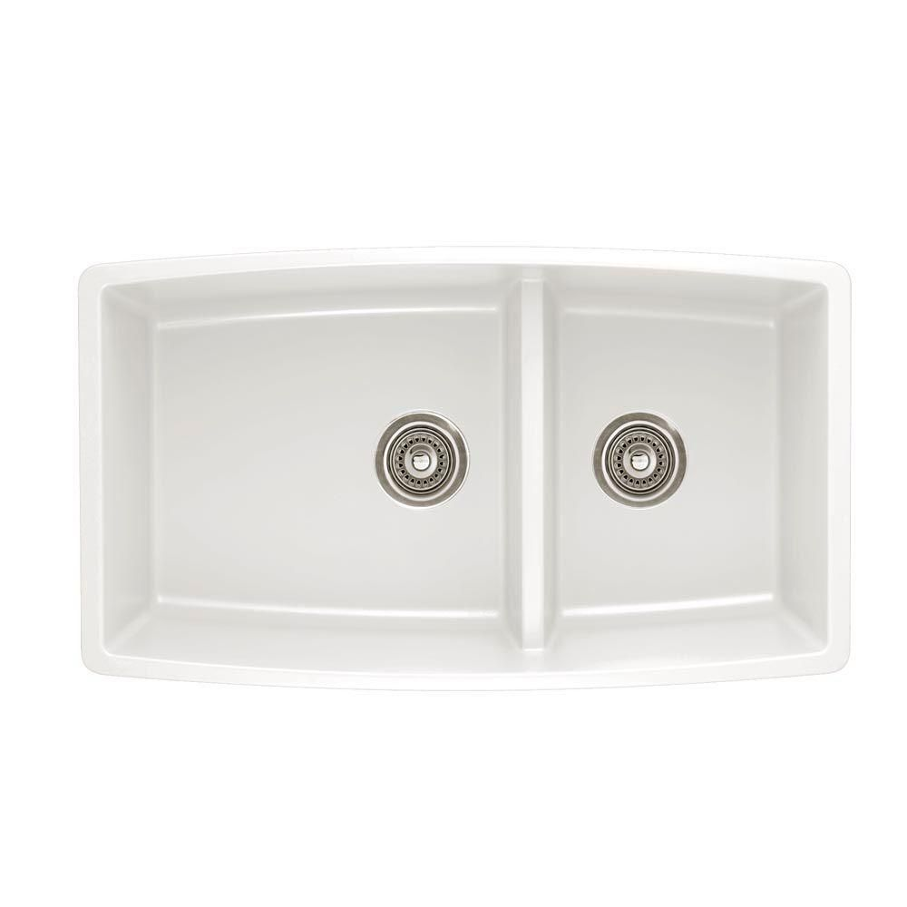 Blanco Performa Undermount Granite Composite 33 In 60 40 Double Bowl Kitchen Sink With Low Divide White 441310 The Home Depot Silgranit