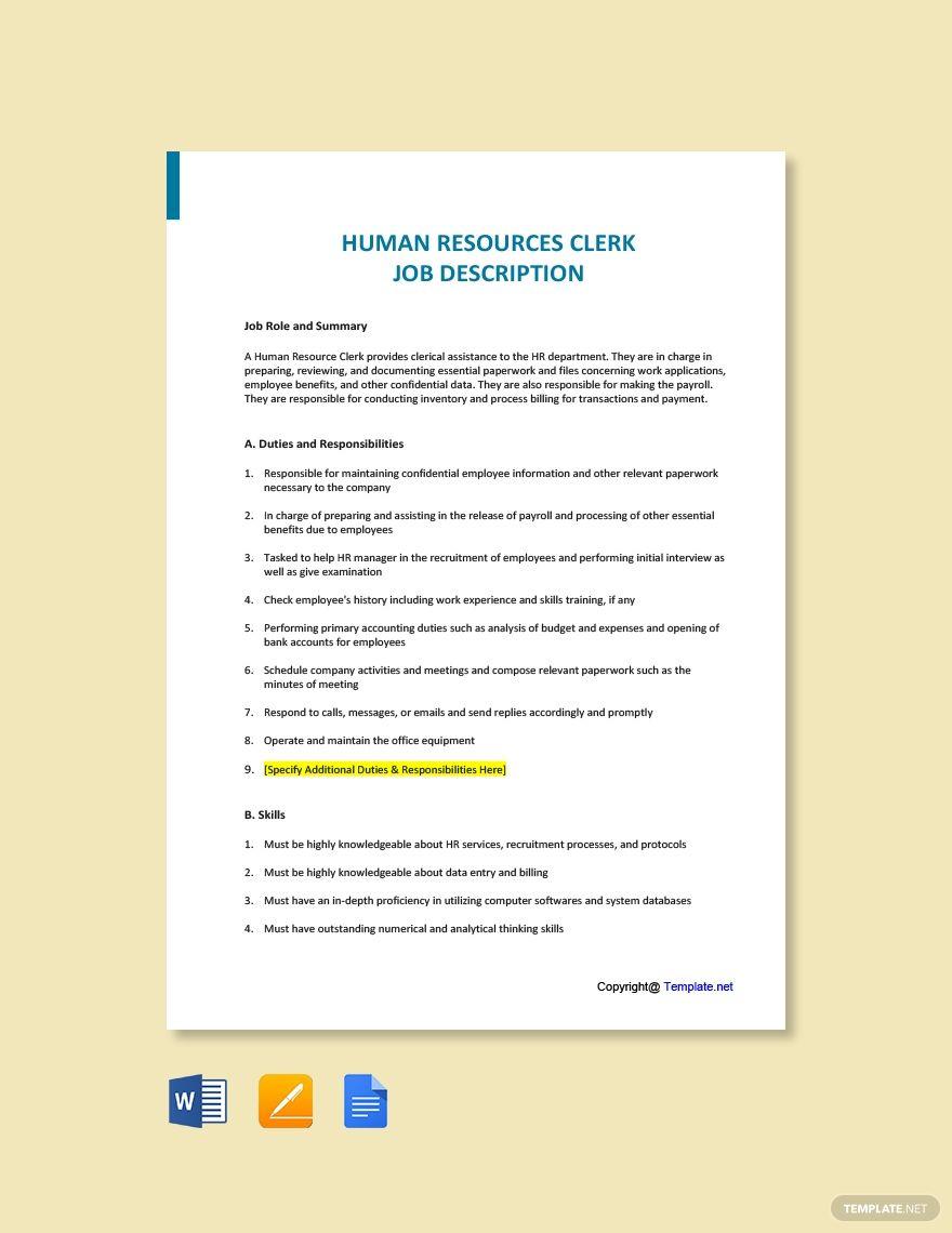 Free Human Resources Clerk Job Description Template Word Doc Google Docs Job Description Template Job Description Job Ads