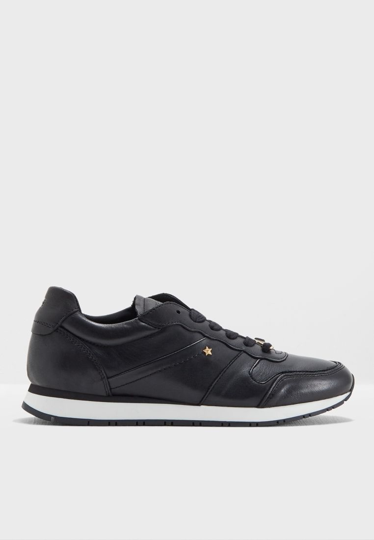 Buy Tommy Hilfiger Black Leather Premium Sneaker For Women In Riyadh Jeddah Fw0fw03385 Sneakers Tommy Hilfiger Leather