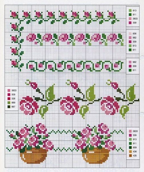 Motivos de flores en punto de cruz05 punto de cruz - Motivos en punto de cruz ...