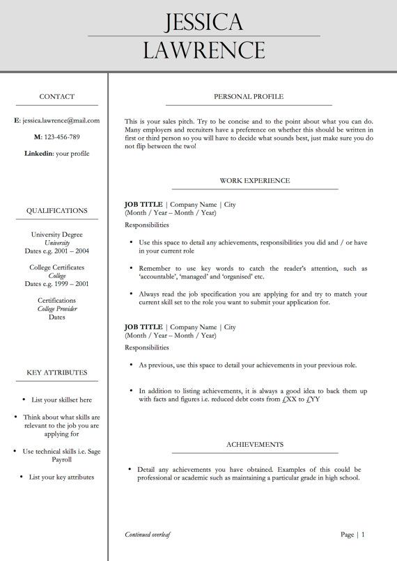 Professional Two Page Resume \/ CV Template + Cover Letter MS - two page resume template