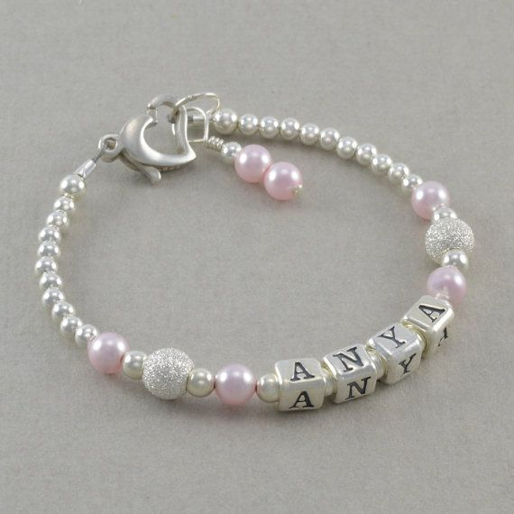 Baby Girl Gift, Baby Name Bracelet, Sterling Silver, First