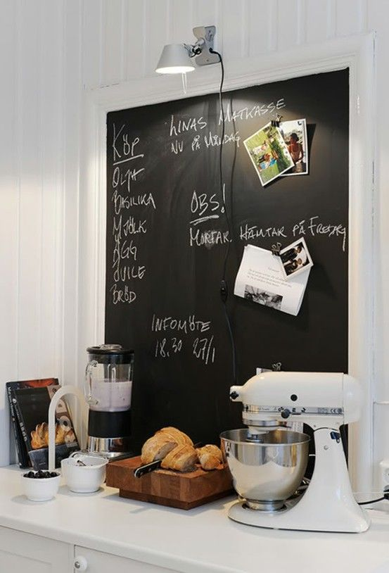 chalk board, kitchen aid mixer, thick cutting board must-haves