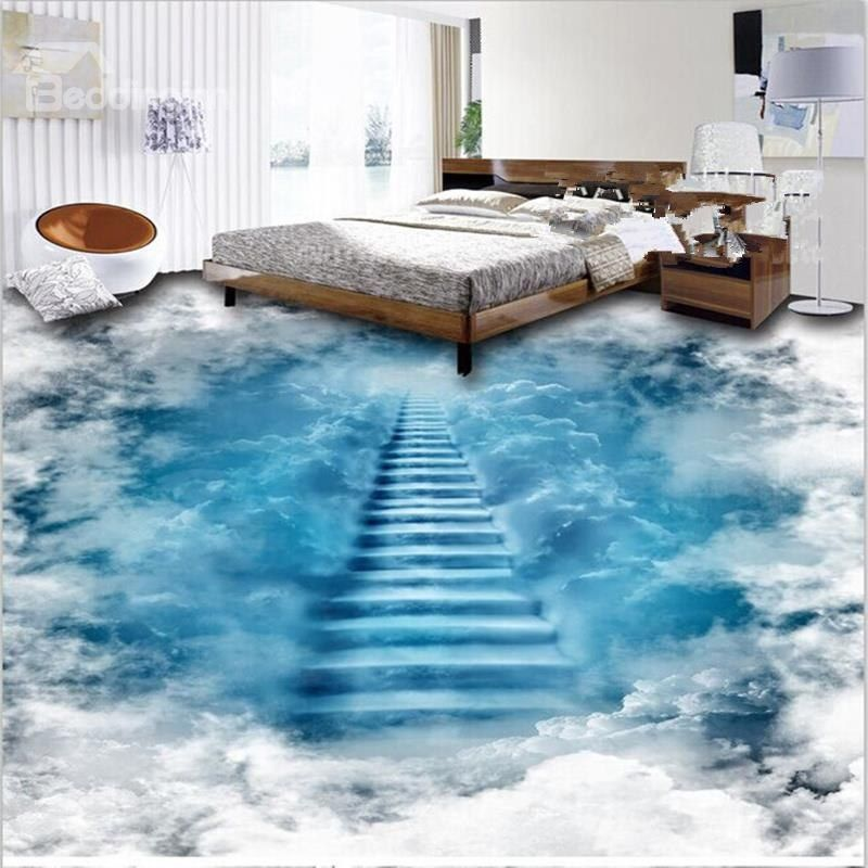 Unique Design Staircase To The Clouds Print Waterproof Decorative
