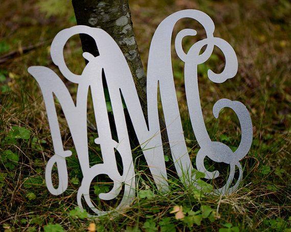 Aluminum Monogram Letters Vine Font Custom wall by bridenew