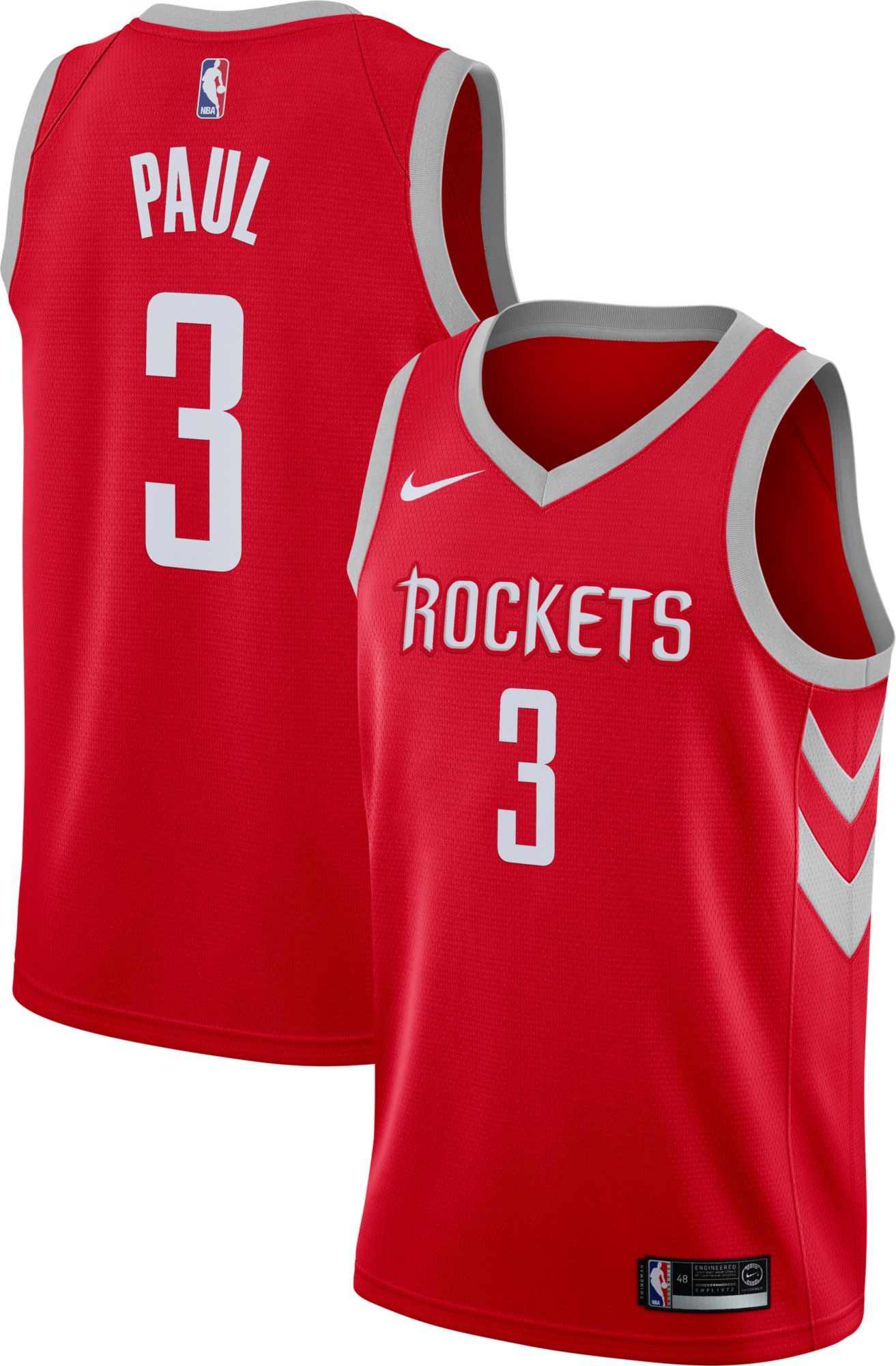 the latest 00fb3 87947 Nike Men's Houston Rockets Chris Paul #3 Red Dri-FIT ...