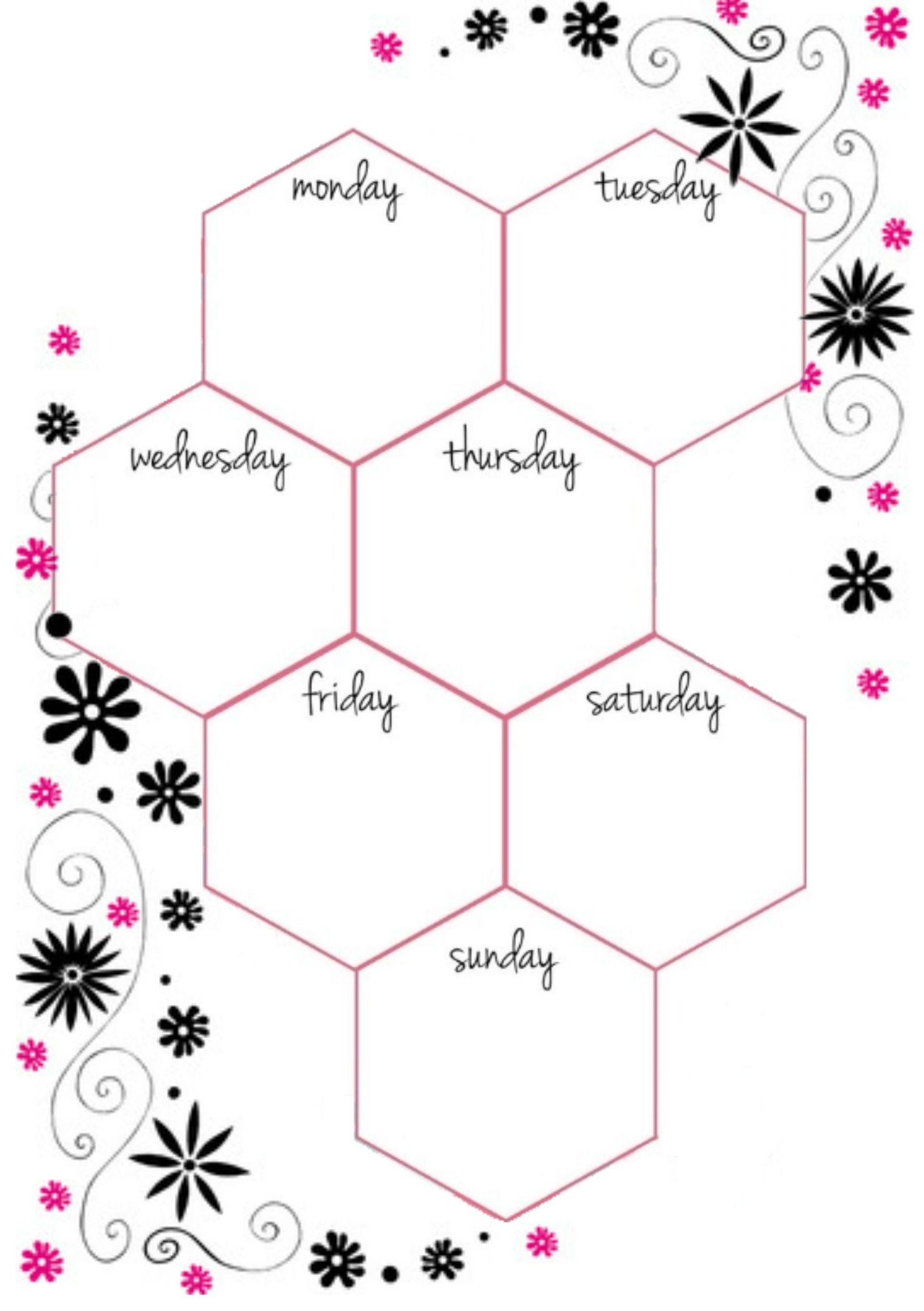Wochentage Sechseck #kalender #einlagen #planer #selfmade ...