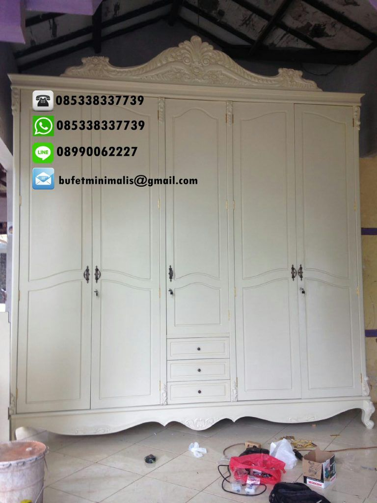 Jual Lemari Pakaian Pintu 5 Cat Duco Warna Putih Harga Murah  # Duartee Muebles