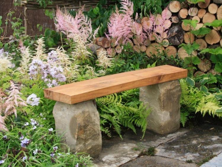 gartenbank aus holz und naturstein selber bauen | bahçe, Gartenarbeit ideen