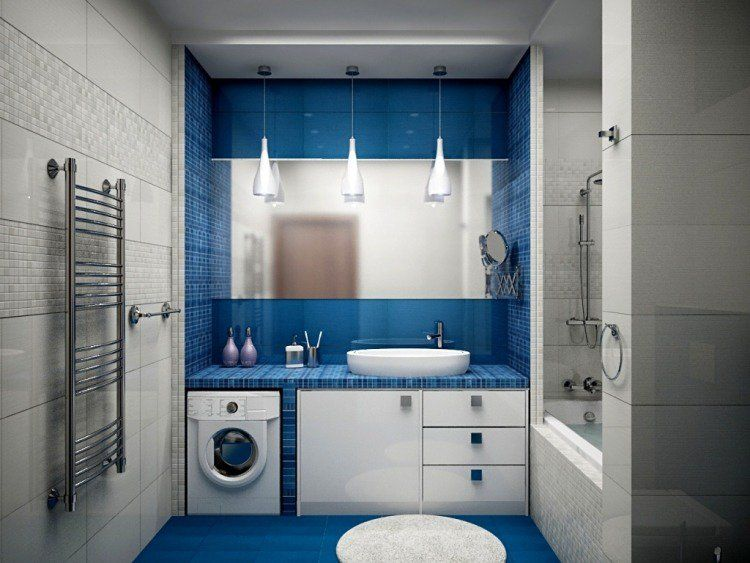 couleur salle de bain en 55 ides de carrelage et dcoration - Decoration Salle De Bain Bleu