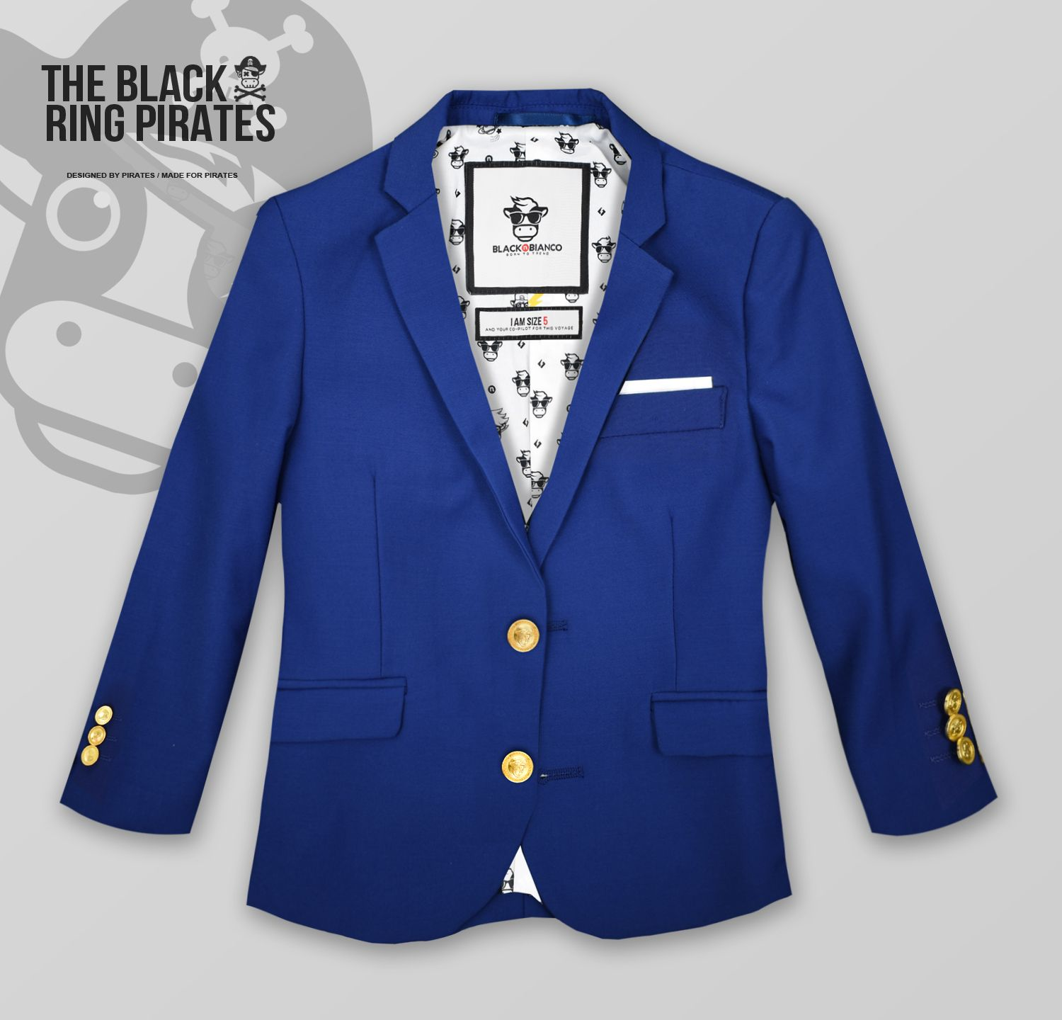 Black n Bianco Boys Golden Age Slim Fit Blazer Jacket with Brass Buttons Presented by The Black Ring Pirates