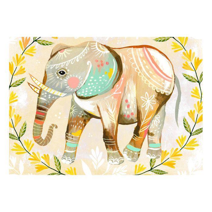 Oopsy Daisy Wild Flower Elephant Canvas Art | AllModern