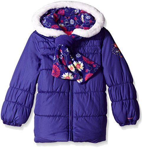 London Fog Little Girls' Chic Puffer Coat with Scarf, Purple, 6X ...