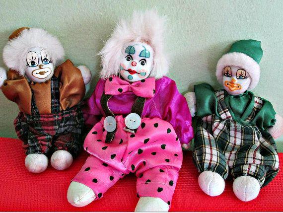 Set of 3 Vintage Porcelain Clowns Dolls, Collectible, Home Decor