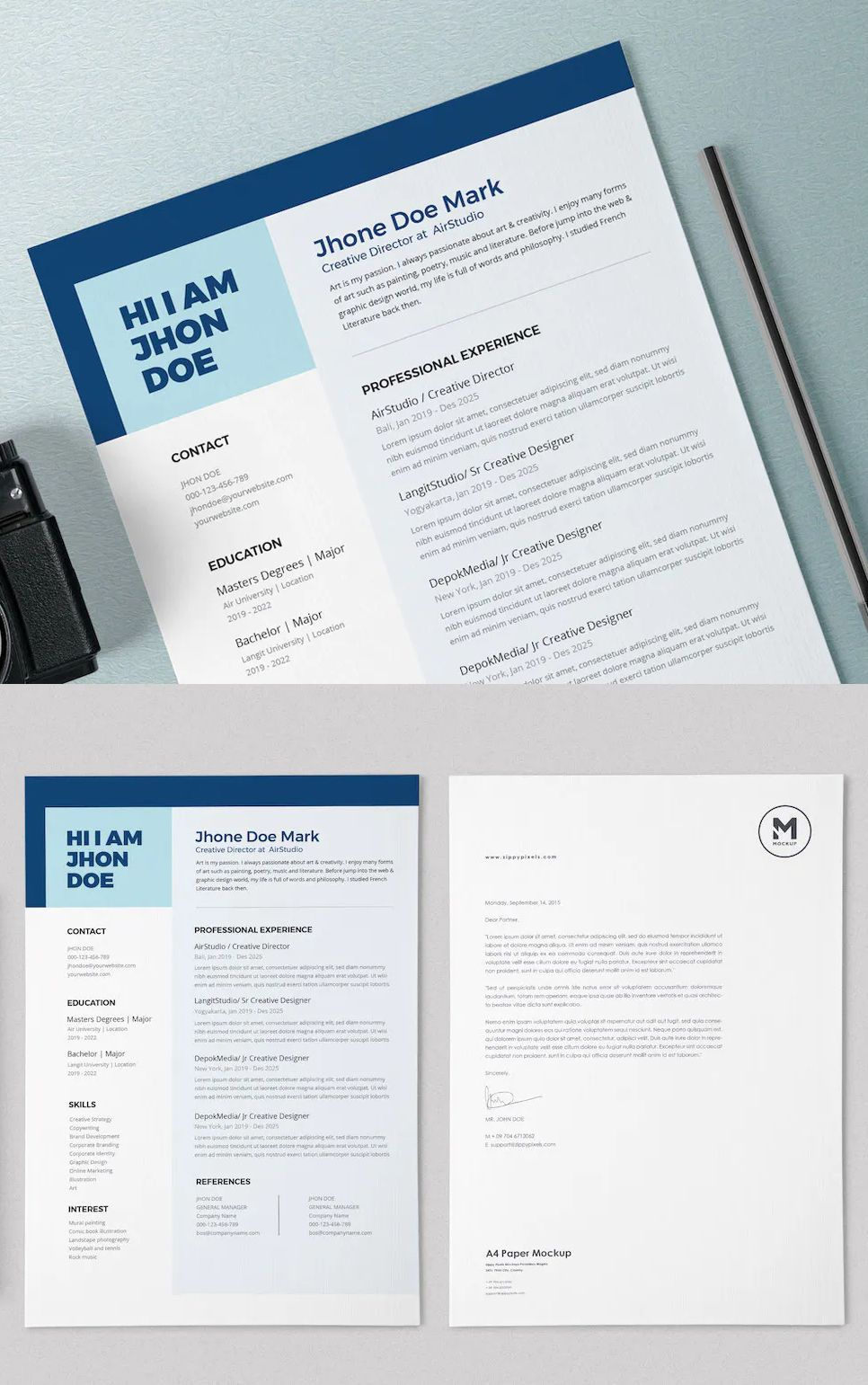 Resume / CV Template PSD, AI. Perfect for any resume