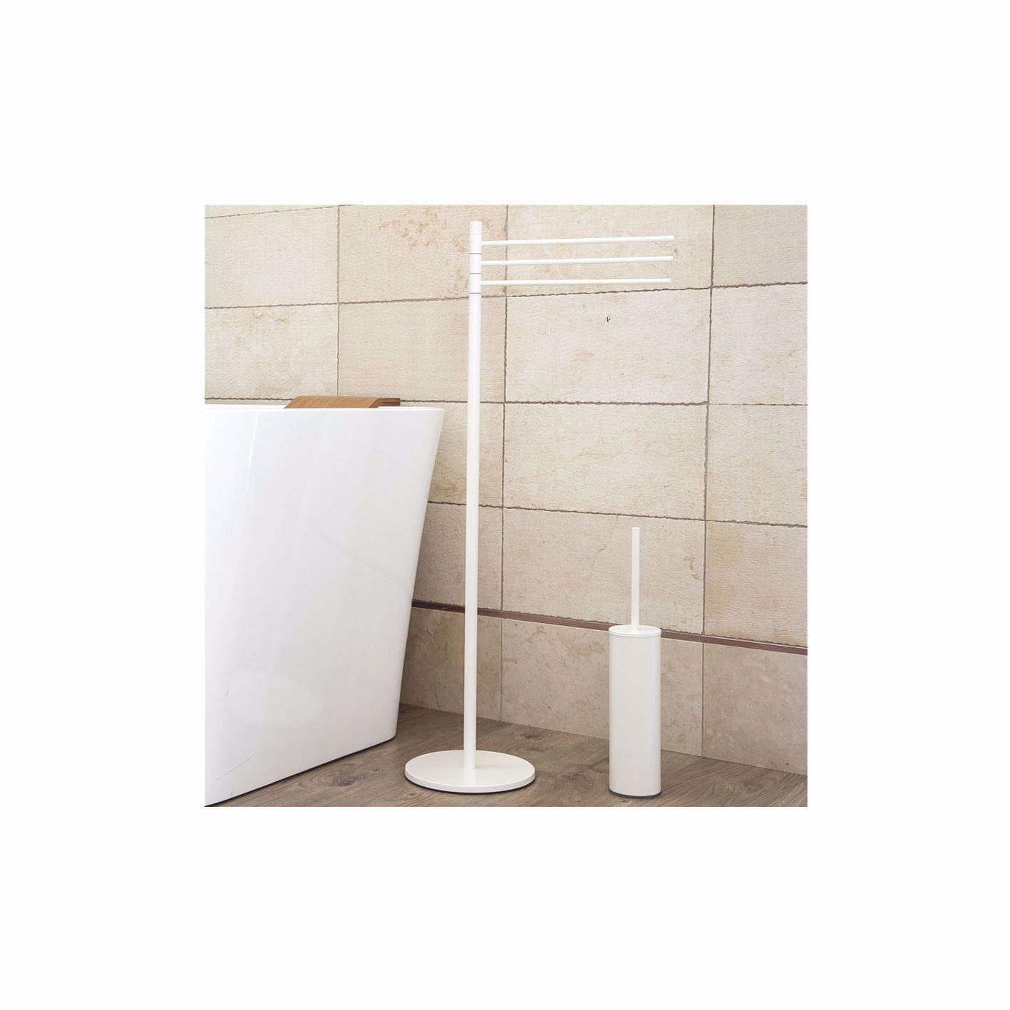 Porta Salviette Free Standing Con Scopino Colore Bianco Matte In
