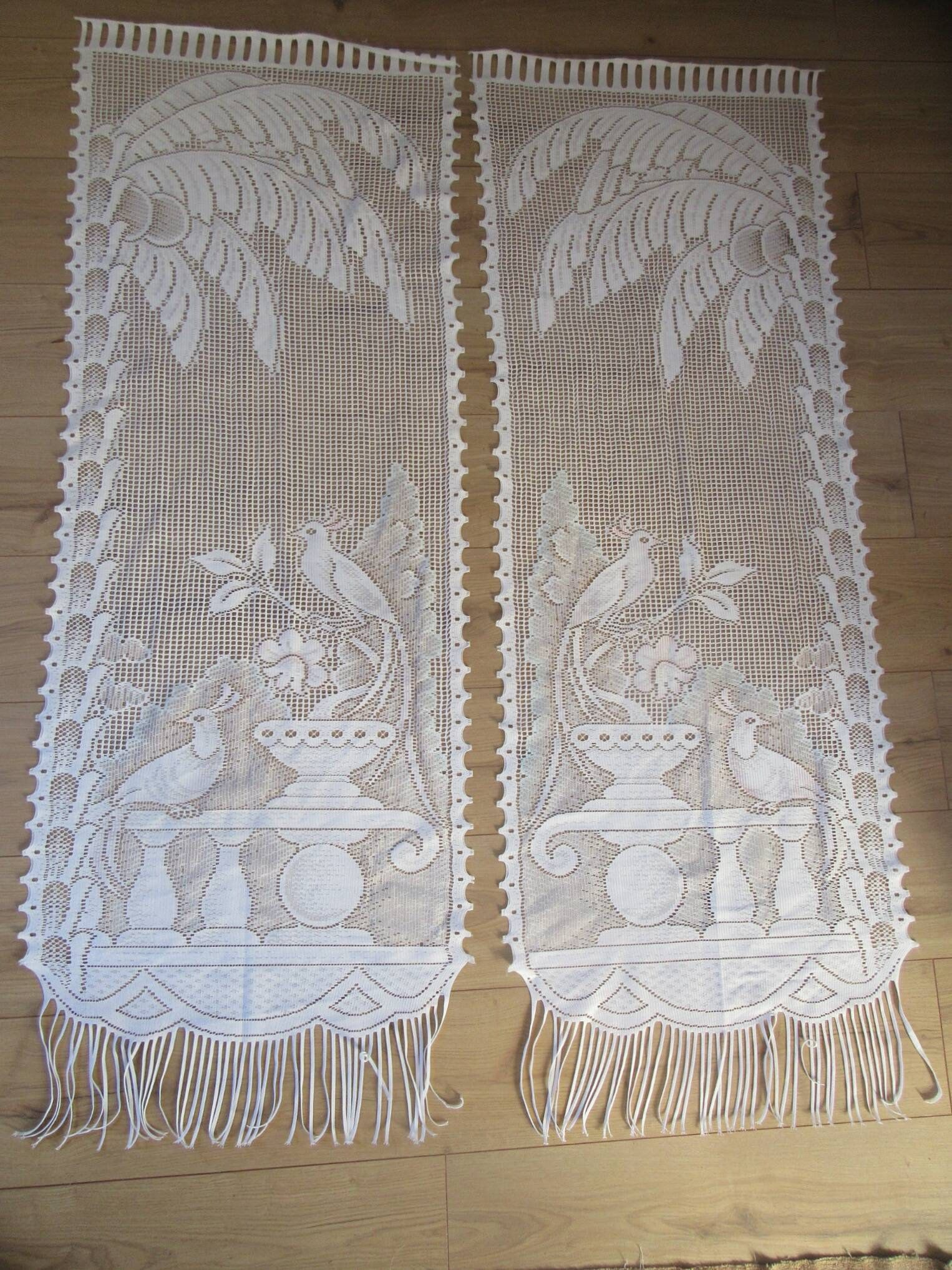 French Lace Curtains Pair Lace Curtains Panels French Vintage Peacock Floral Lace