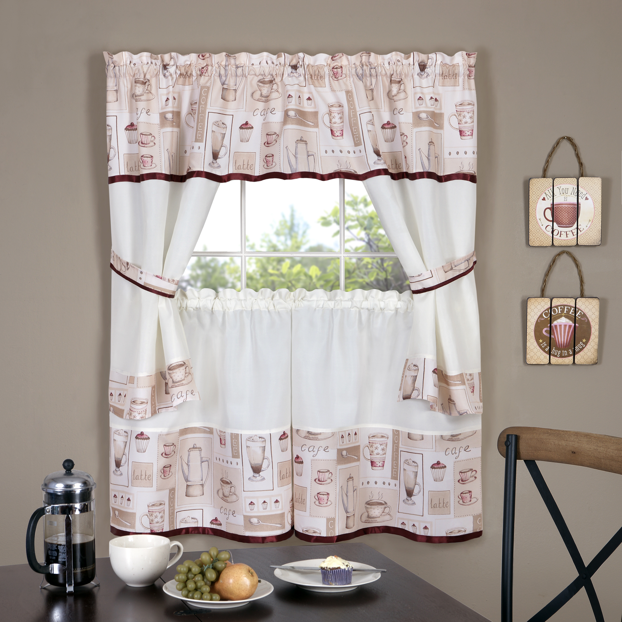 Achim Importing Co Cappuccino Embellished Cottage Window Curtain
