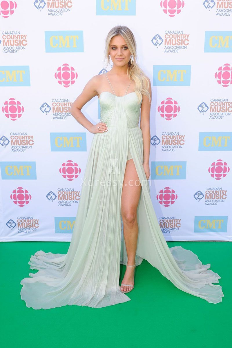 Kelsea Ballerini Sexy Aqua Chiffon Pageant Prom Dress Canadian ...
