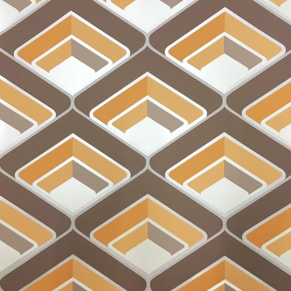 Grandeco Geo Orange Wallpaper Retro wallpaper, Geo