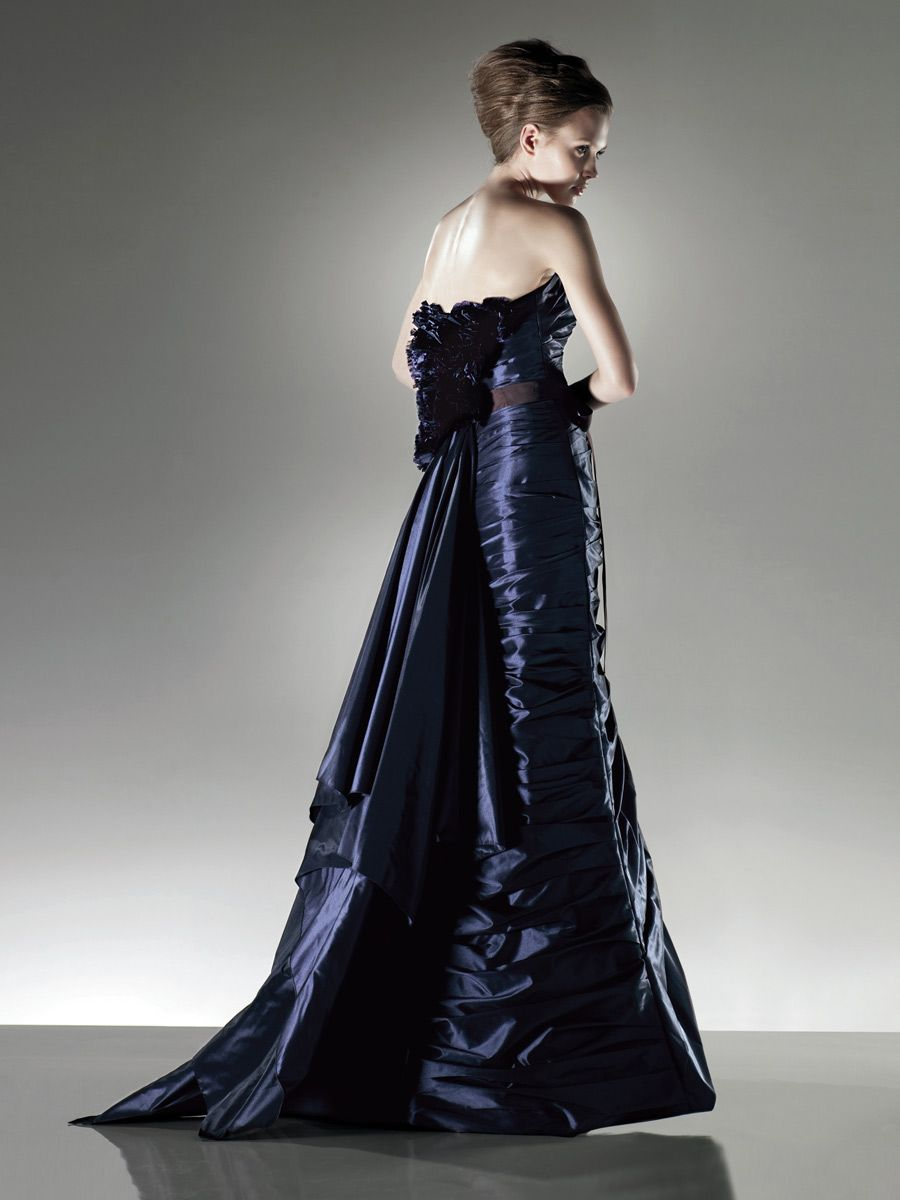 Midnight blue strapless floor length dress with ribbon waist my