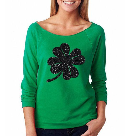ec2ae459f4f9 GLITTER Saint Patrick's Day Shirt, Green Glitter Shirt, St. Patty's Day  Shirts, Four Leaf Clover Shirts, Women's Shirt, Saint Patty's Day