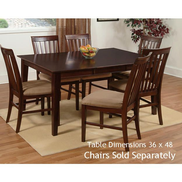 Atlantic Shaker Dining Table With 36 X 48 Solid Top In An Espresso Finish By Furniture 355