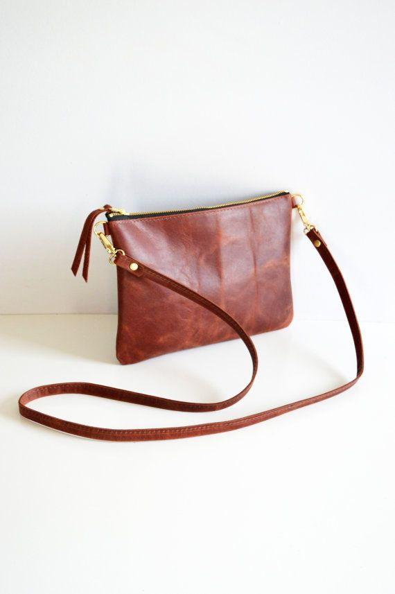 Minimalist leather crossbody bag in russet brown     This bag is hand made  to 252123e243c15