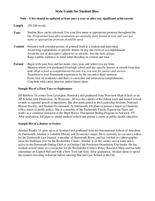 Sample Student Bio nanny job Pinterest Resume examples and - resume descriptive words