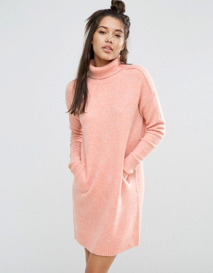7dc70f3de7 ASOS LOUNGE Sweater Dress in Cocoon Shape with High Neck