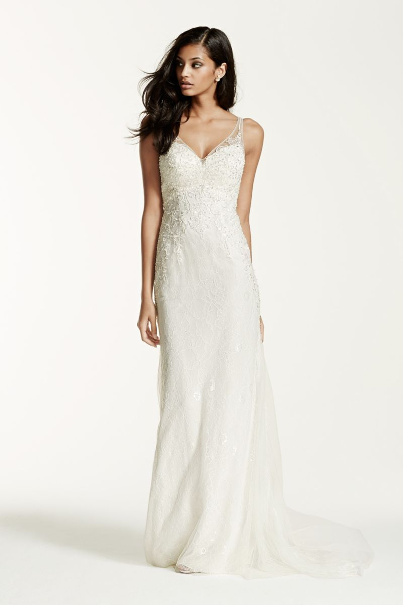 Lace sheath gown with v neckline style swg bridal gown
