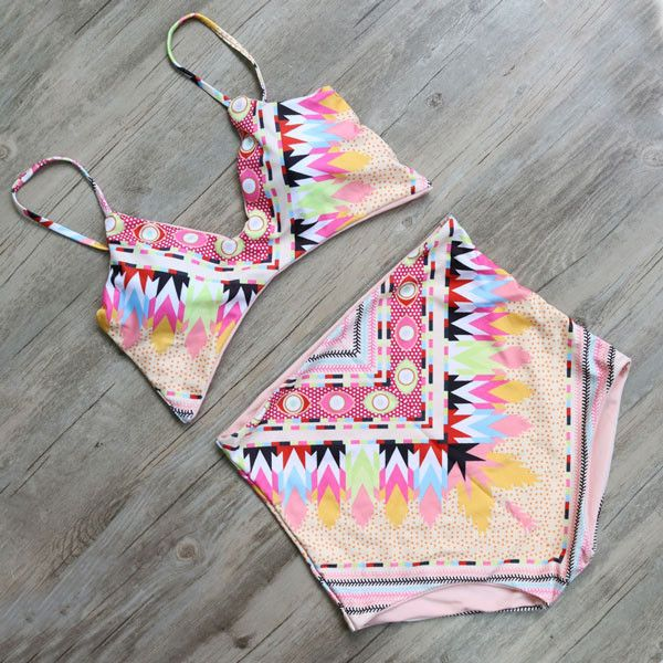 Print High Waist Swimsuit Women Bikini Set